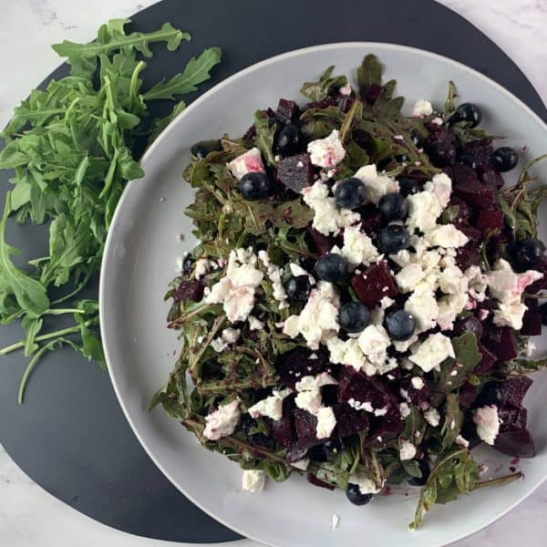 RED WHITE AND BLUE SALAD WITH BEETS, BLUEBERRIES, ARUGULA & FETA