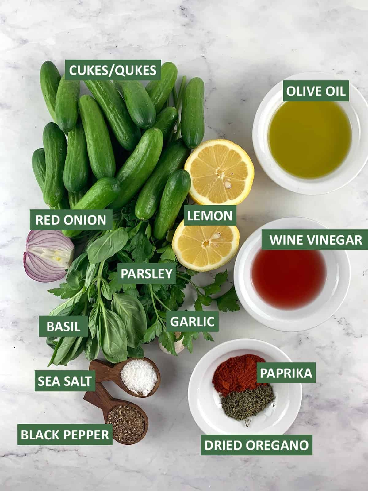 INGREDIENTS NEEDED TO MAKE ITALIAN CUCUMBER SALAD WITH TEXT