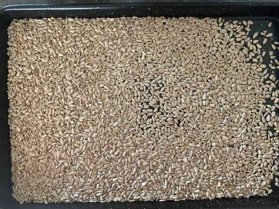 SUNFLOWER SEEDS ON OVEN TRAY