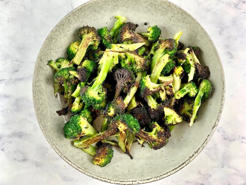 CHARRED LOW CARB BROCCOLI TO BOWL