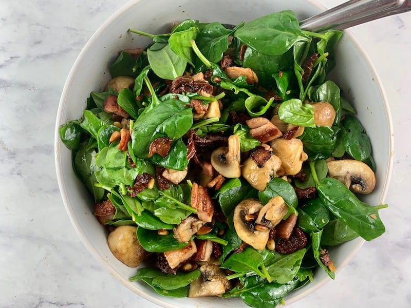 MIX KETO SPINACH MUSHROOM SALAD UNTIL COMBINED