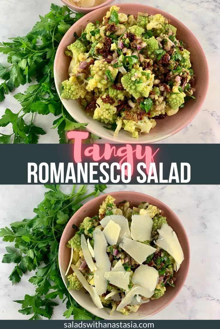 Romanesco Salad with text overlay
