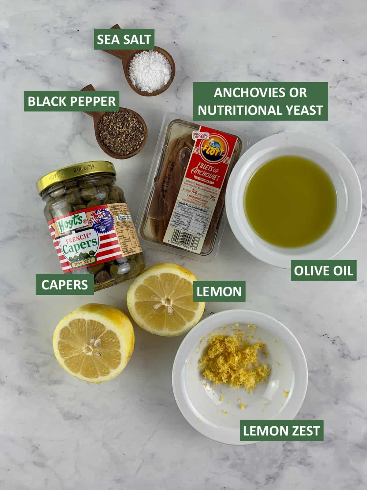 INGREDIENTS NEEDED TO MAKE LEMON CAPER DRESSING WITH TEXT