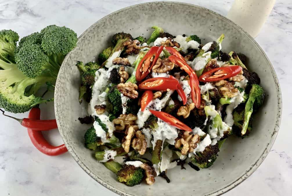 LOW CARB BROCCOLI SALAD WITH FETA DRESSING WALNUTS & CHILLI, RAW BROCCOLI, CHILLIS & FETA DRESSING ON THE SIDE