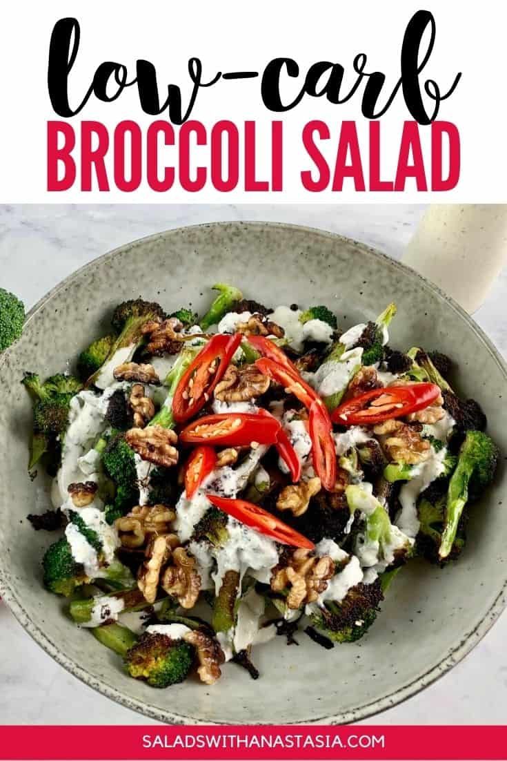 LOW CARB BROCCOLI SALAD with text overlay