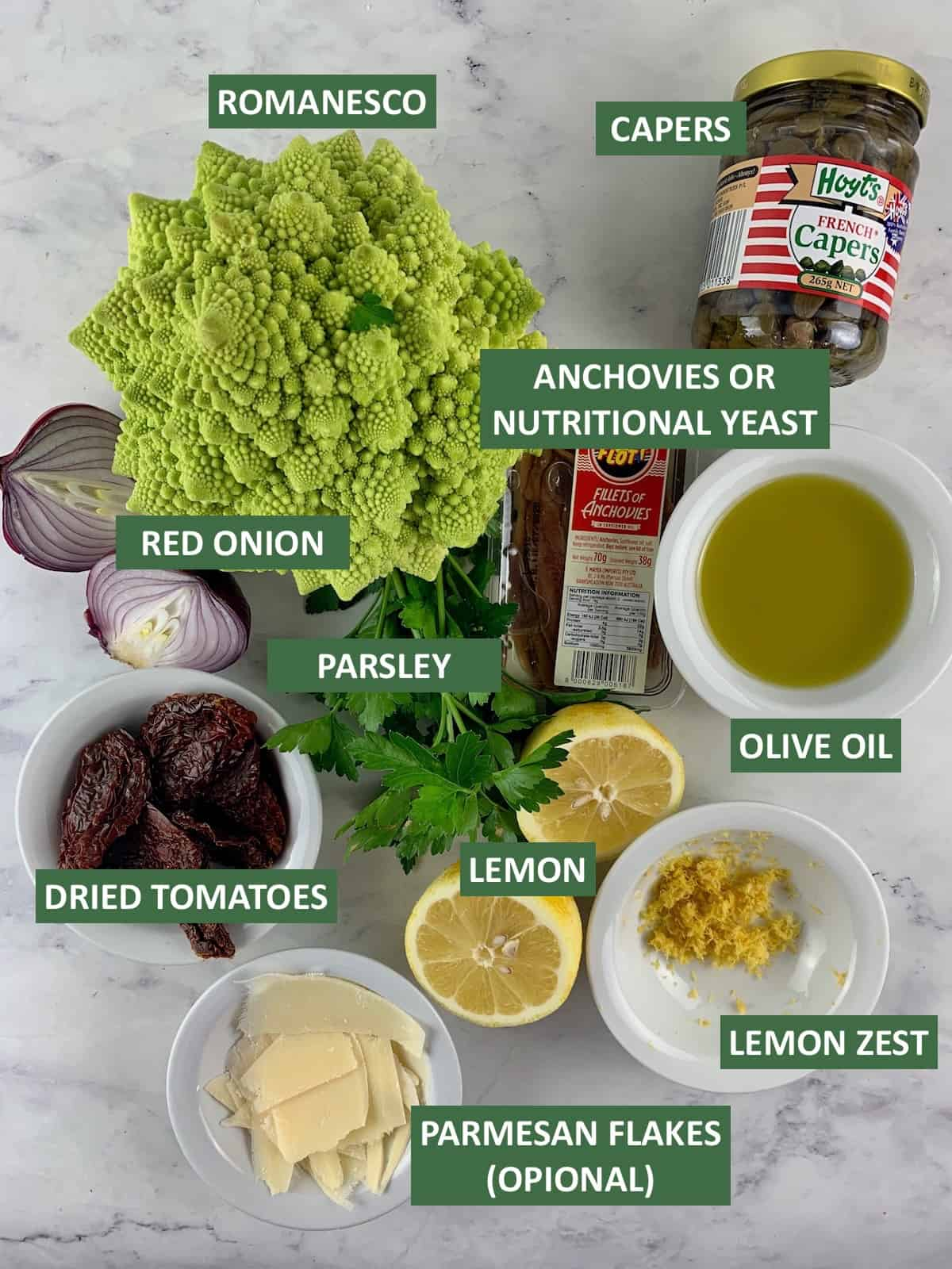 INGREDIENTS NEEDED TO MAKE ROMANESCO SALAD WITH TEXT