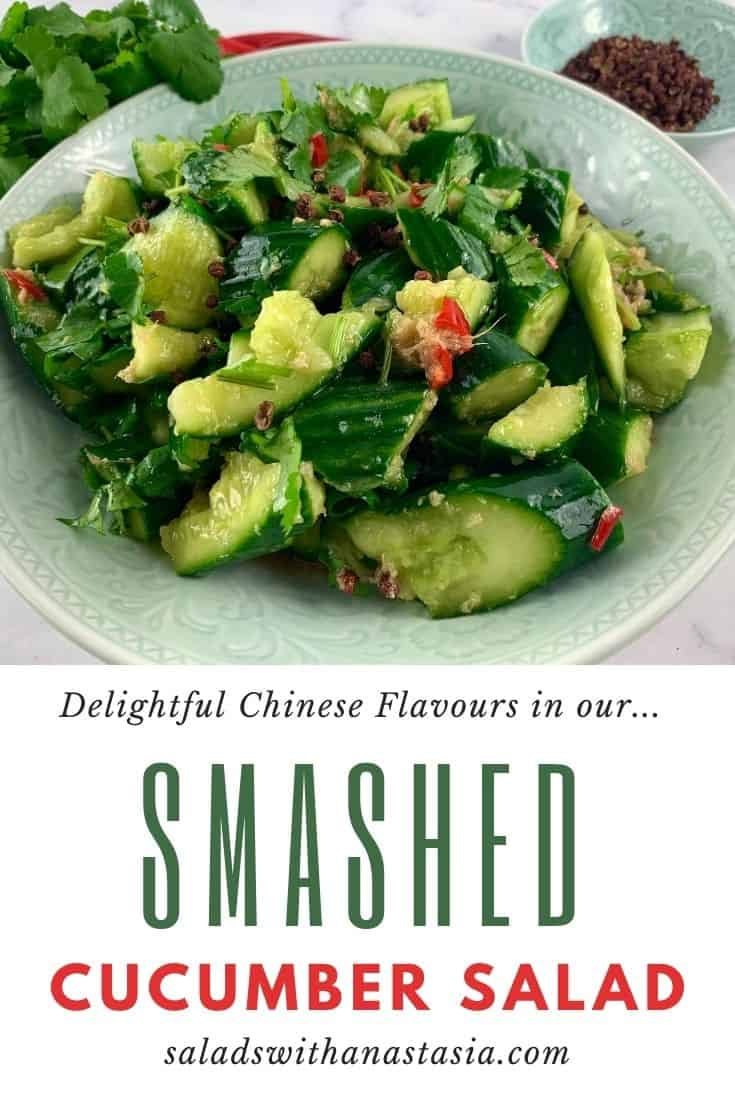 SMASHED CUCUMBER SALAD WITH TEXT OVERLAY