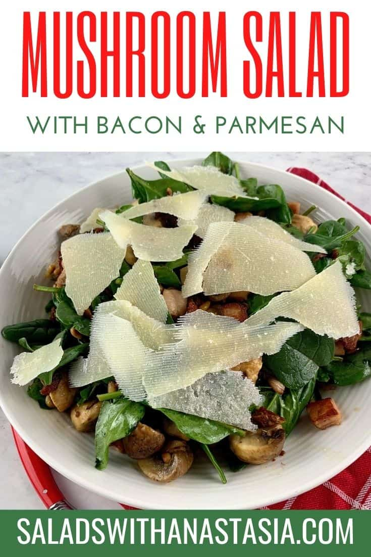 SPINACH & MUSHROOM SALAD WITH TEXT OVERLAY