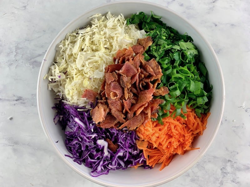 INGREDIENTS FOR KETO COLESLAW IN A MIXING BOWL