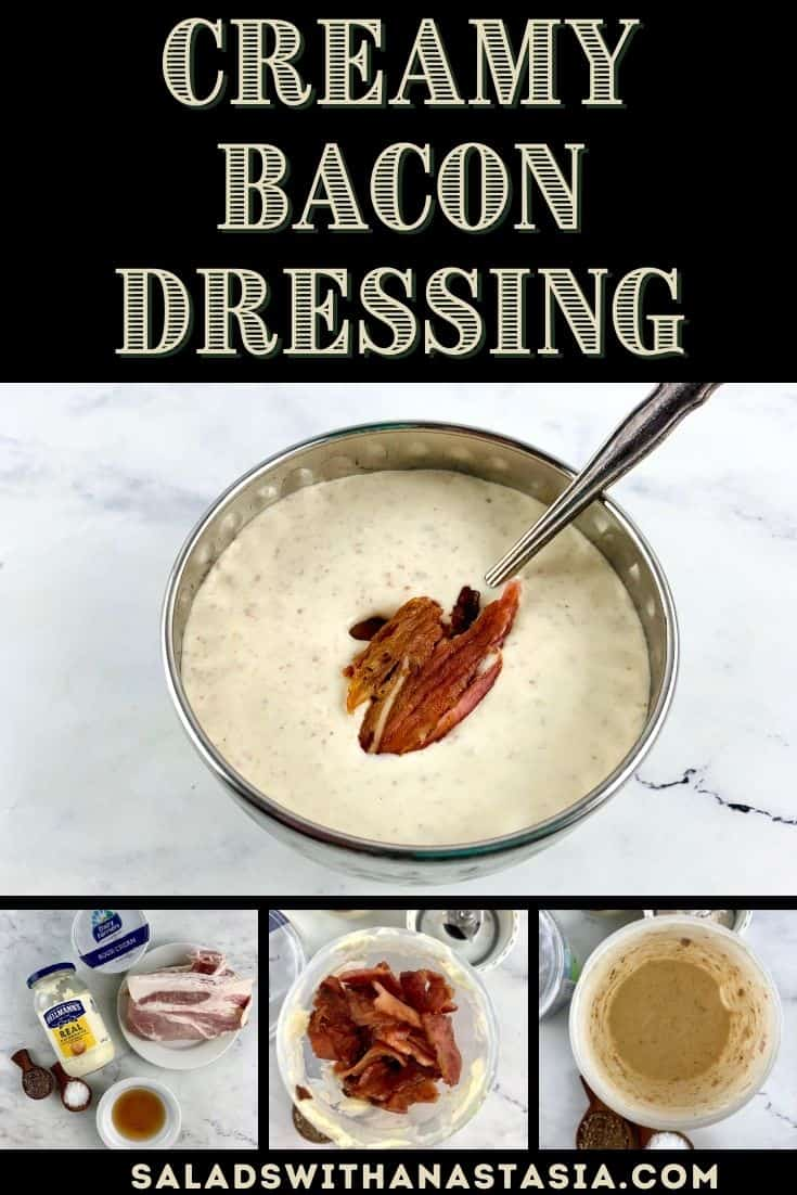 CREAMY BACON DRESSINg WITH TEXT OVERLAY