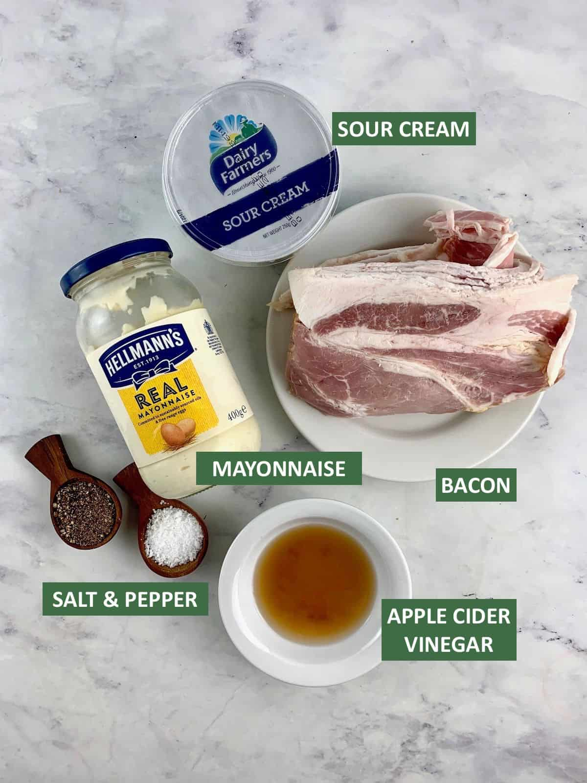 INGREDIENTS TO MAKE CREAMY BACON DRESSING