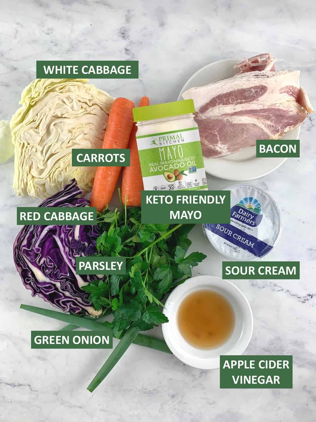 LABELLED INGREDIENTS NEEDED TO MAKE KETO COLESLAW