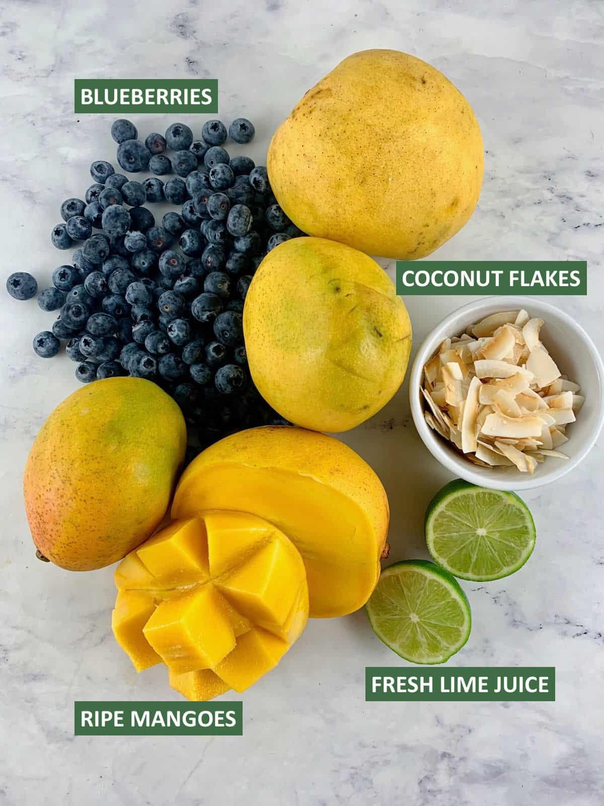 LABELLED INGREDIENTS NEEDED TO MAKE MANGO FRUIT SALAD