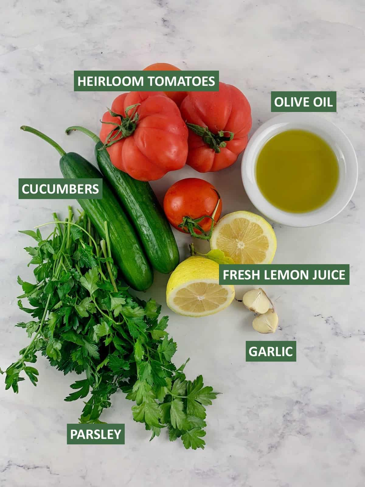 LABELLED INGREDIENTS TO MAKE MEDITERRANEAN TOMATO AND CUCUMBER SALAD I