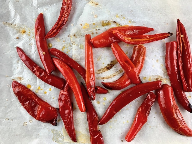 ROASTED CHILLIS ON A TRAY