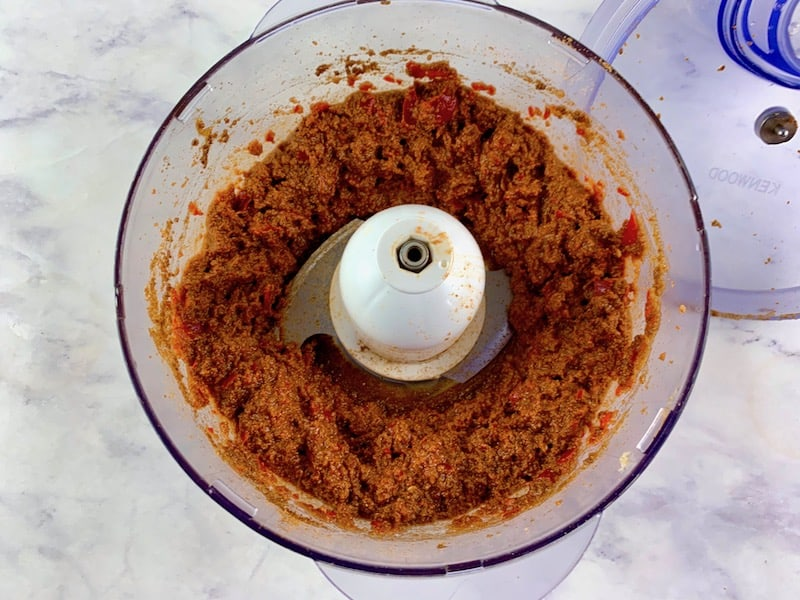 BLITZED HARISSA PASTE IN FOOD PROCESSOR BOWL
