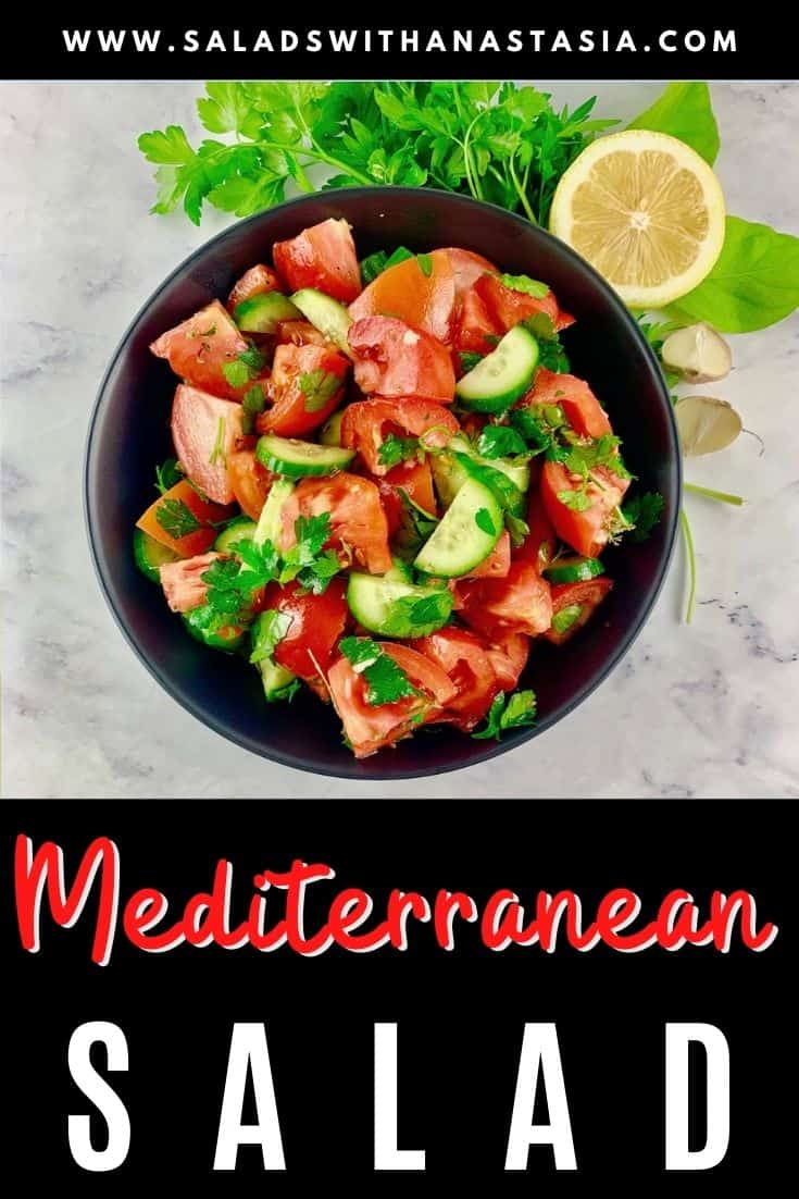 MEDITERRANEAN TOMATO CUCUMBER SALAD IN A BLACK BOWL WITH PARSLEY, LEMON AND GARLIC ON THE SIDE & TEXT OVERLAY