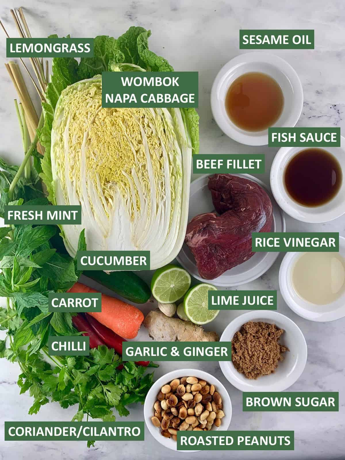 VIETNAMESE SALAD INGREDIENTS WITH TEXT