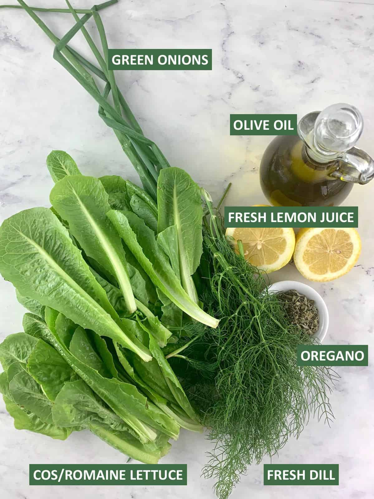 LABELLED INGREDIENTS NEEDED FOR MAROULOSALATA