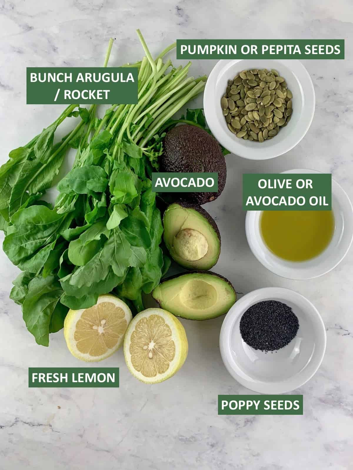 LABELLED INGREDIENTS NEEDED TO MAKE ARGULA AVOCADO SALAD