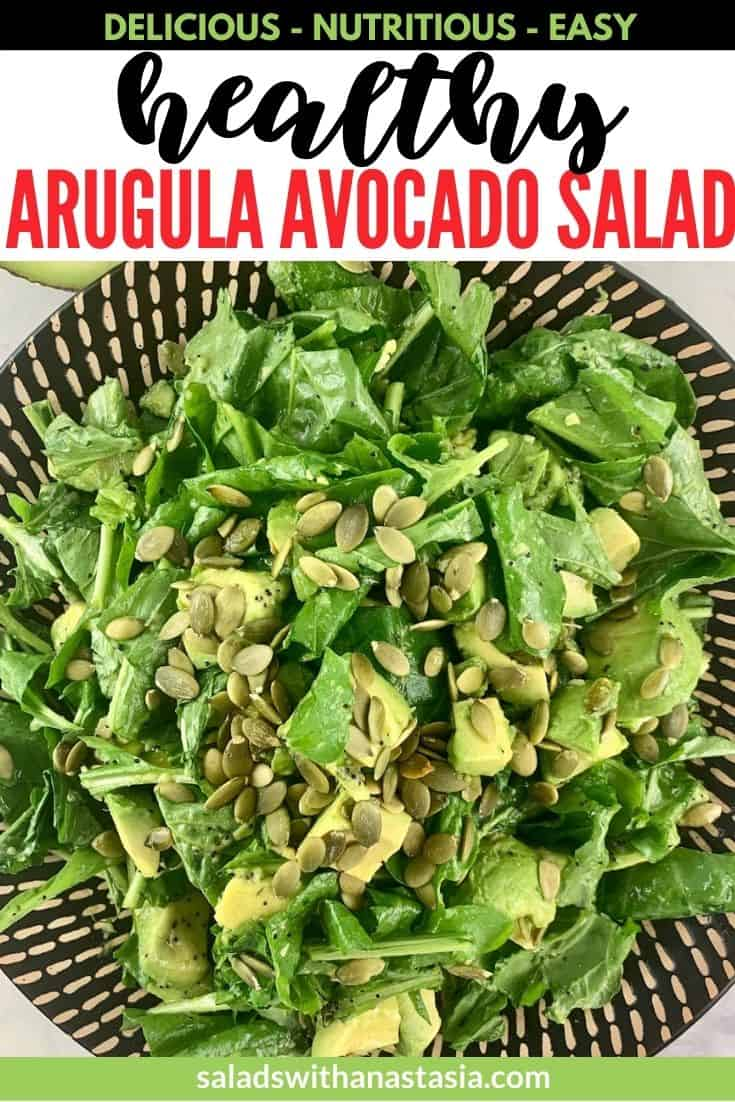 CLOSE-UP OF ARUGULA AVOCADO SALAD WITH TEXT OVERLAY