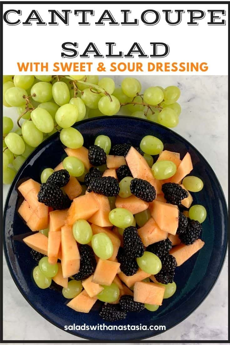 CANTALOUPE SALAD IN NAVY PLATE WITH GREEN GRAPES ON SIDE & TEXT OVERLAY
