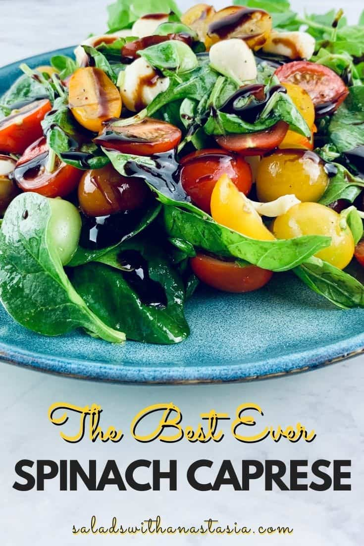 SPINACH CAPRESE SALAD ON BLUE PLATE WITH BASIL ON THE SIDE & TEST OVERLAY