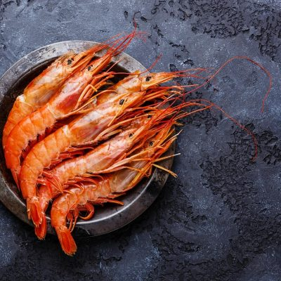 COOKED PRAWNS IN A BOWL WITH DARK GREY BACKGROUND
