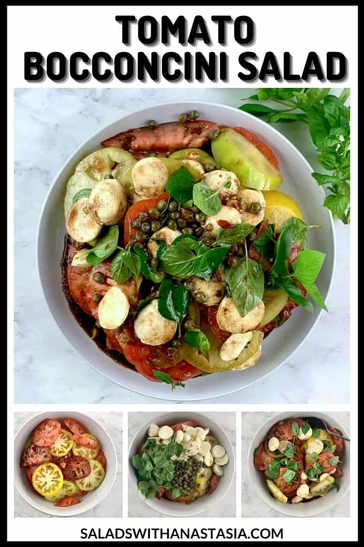 TOMATO AND BOCCONCINI SALAD In white bowl with how to pics & text overlay