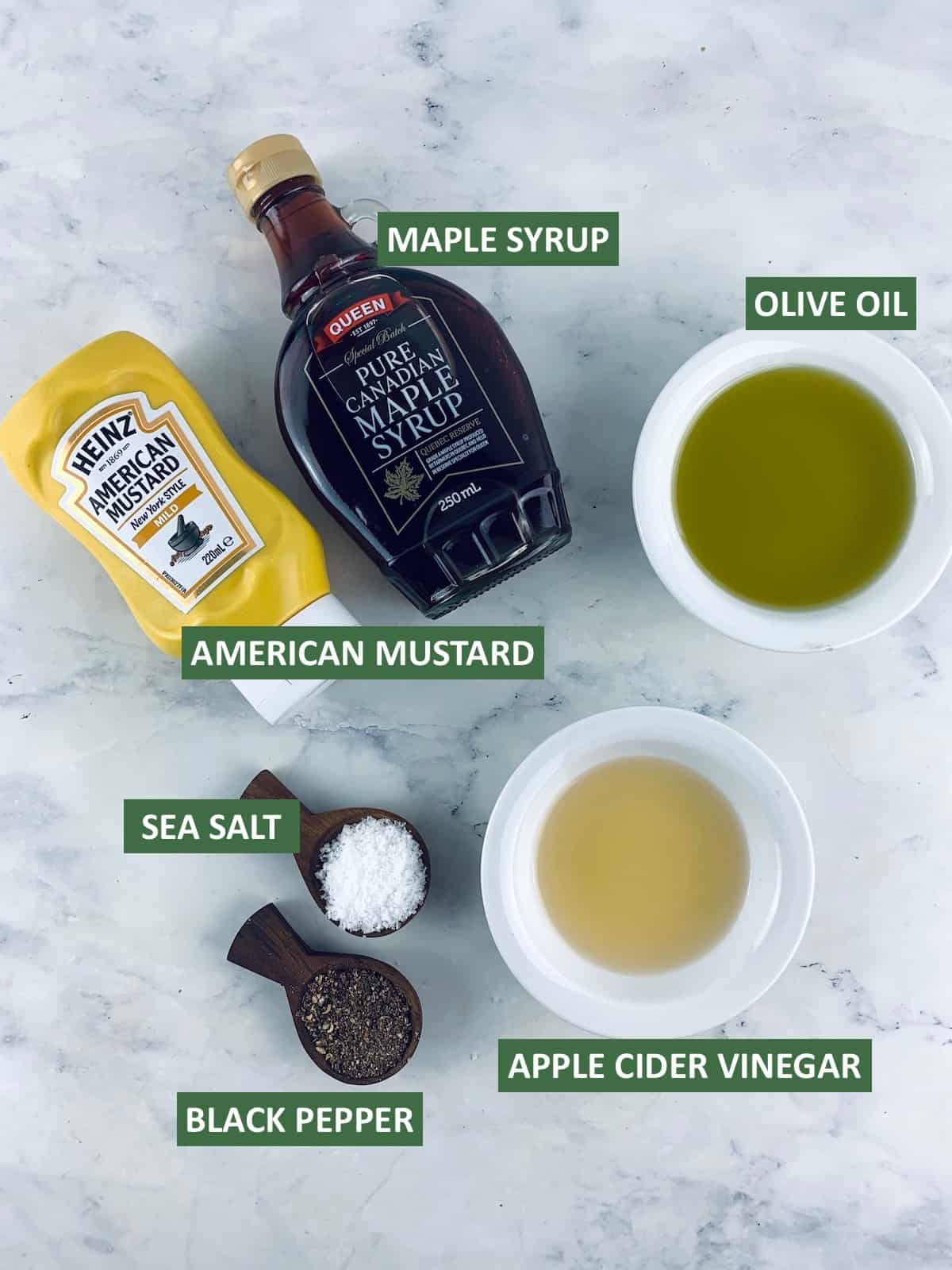 LABELLED INGREDIENTS NEEDED TO MAKE AMERICAN MUSTARD DRESSING