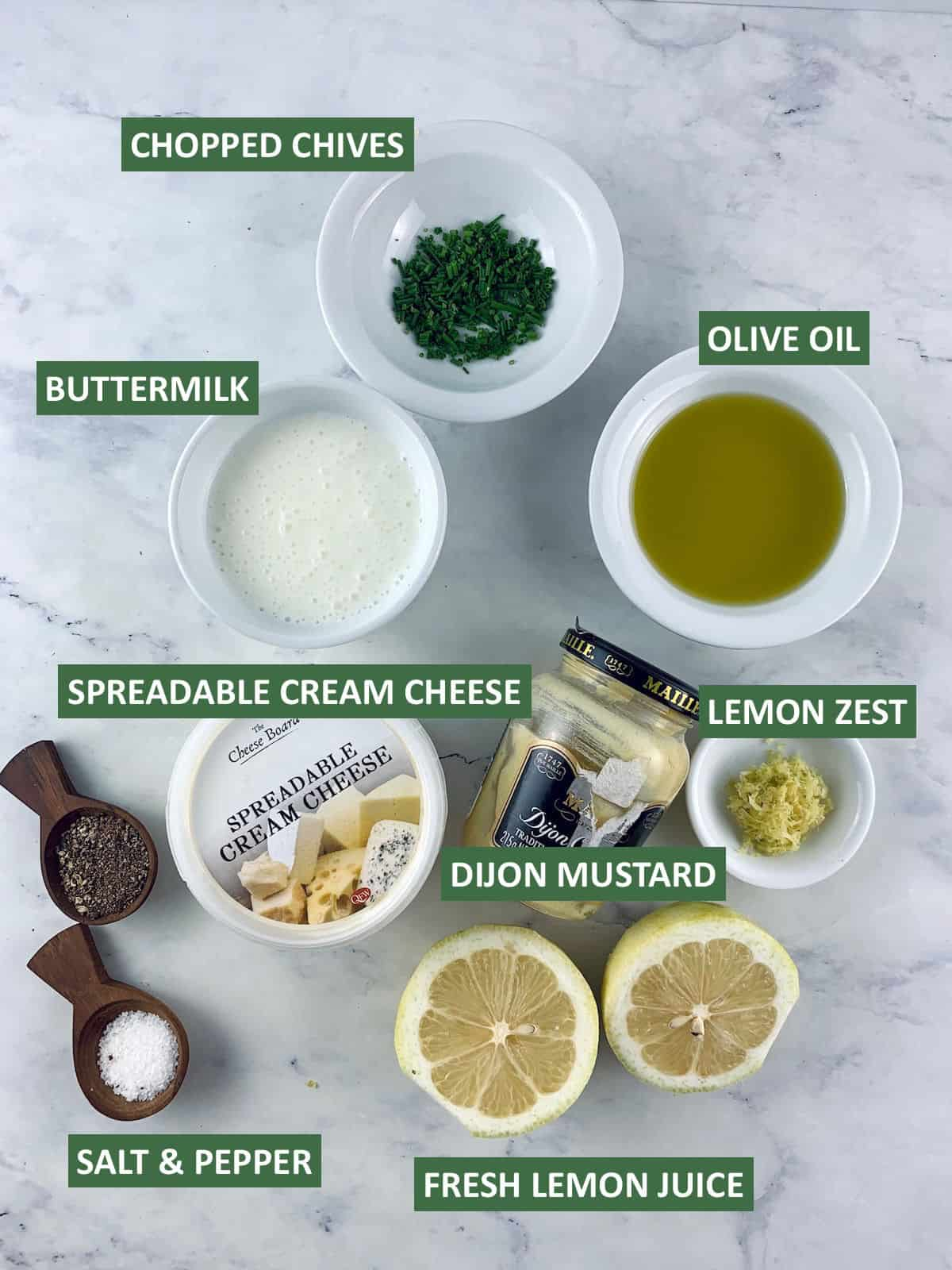 Labelled ingredients needed to make buttermilk dressing