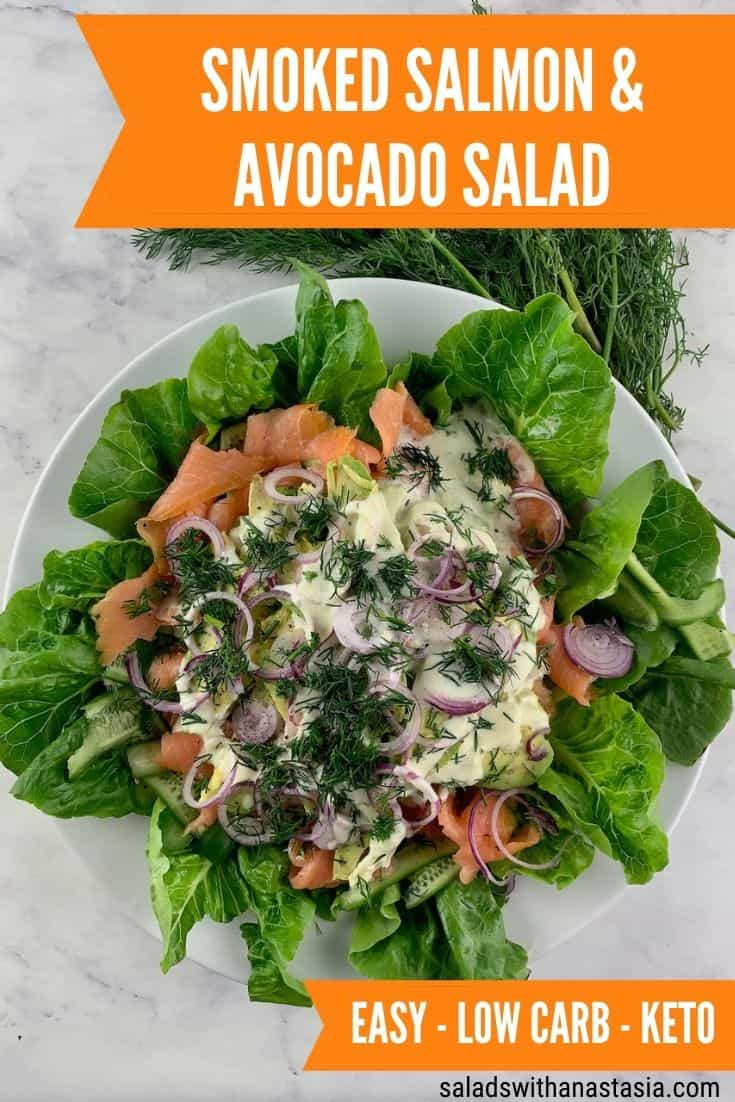SMOKED SALMON AND AVOCADO SALAD ON A WHITE PLATTER WITH DILL ON THE SIDE & TEXT OVERLAY