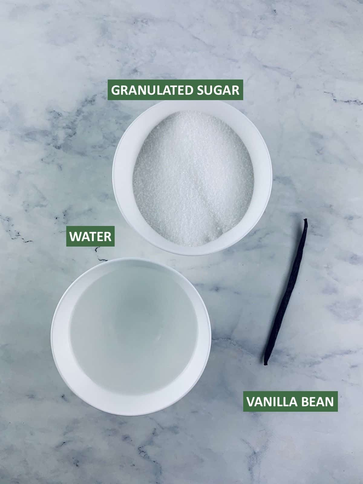 LABELLED INGREDIENTS NEEDED TO MAKE VANILLA BEAN SYRUP