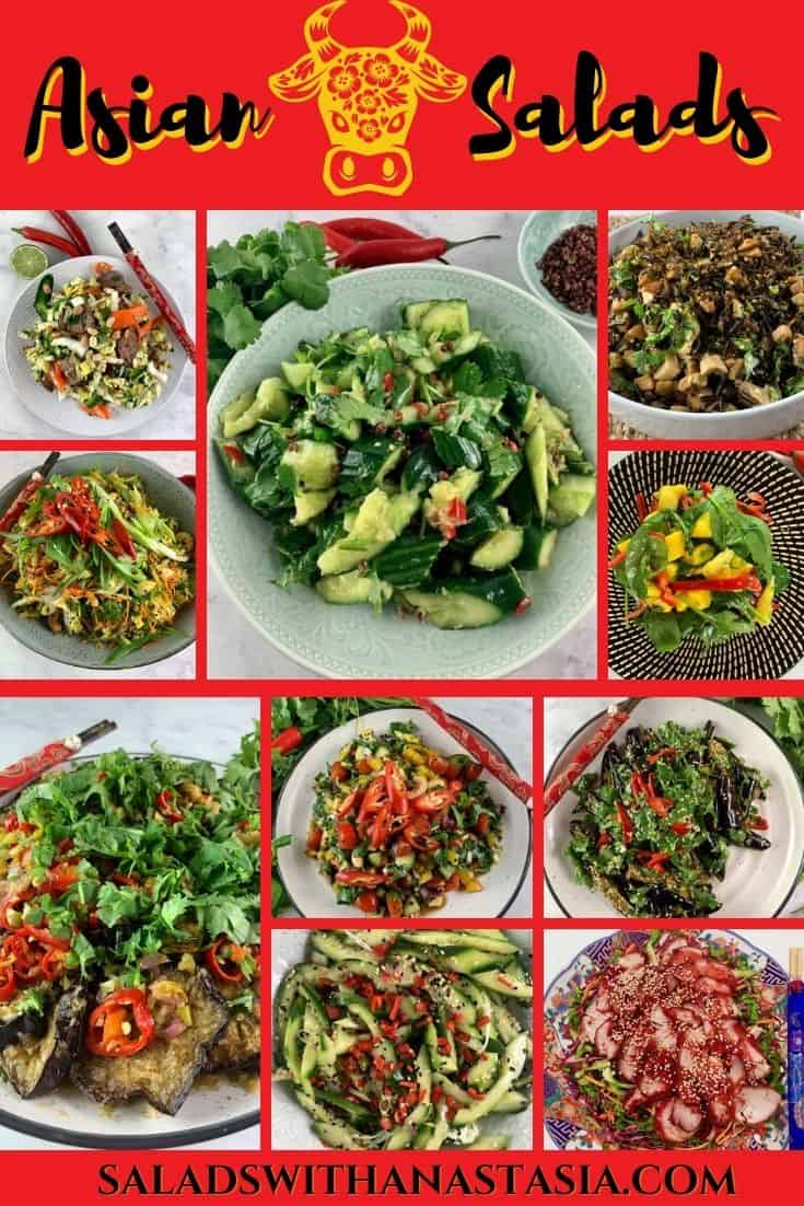 ASIAN SALAD COLLECTION WITH TEXT OVERLAY