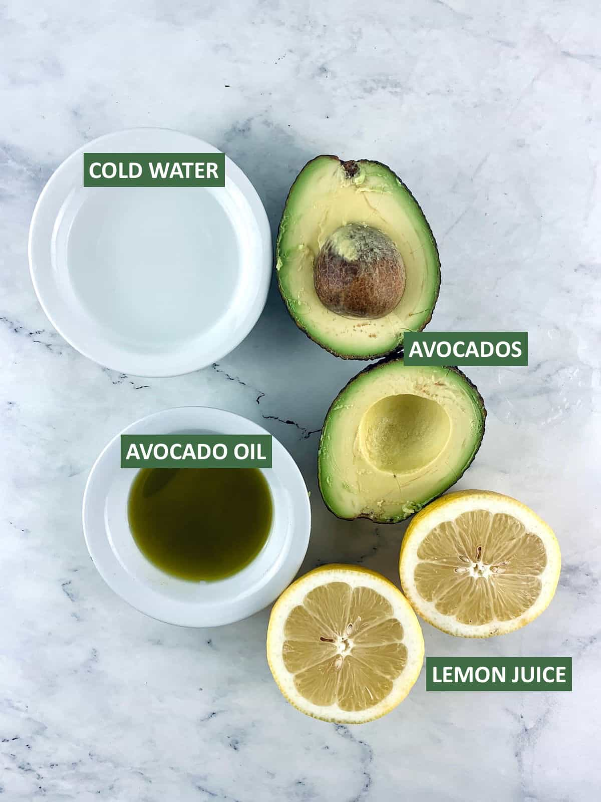 labelled ingredients needed to make avocado mayo