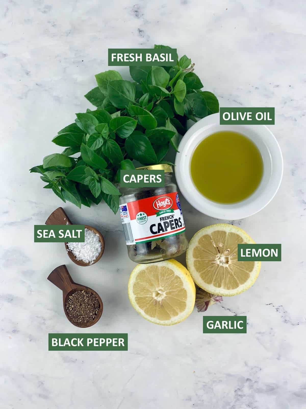 LABELLED INGREDIENTS NEEDED TO MAKE BASIL CAPER DRESSING