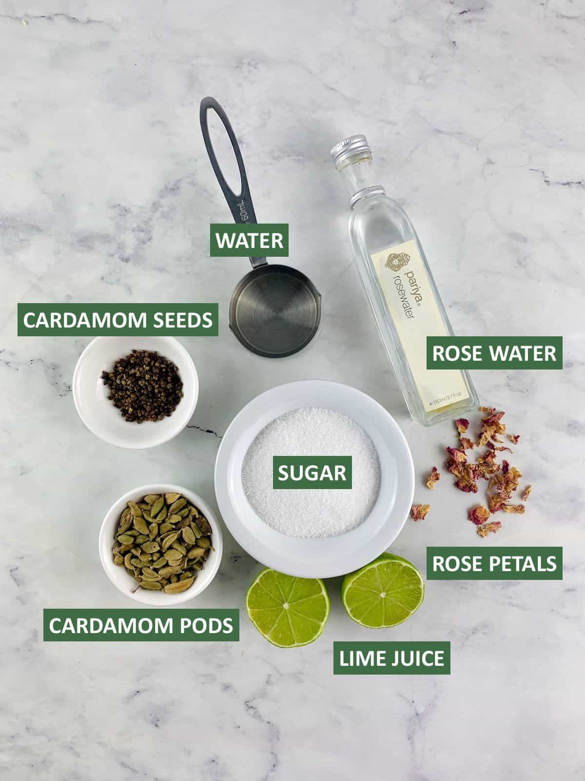 LABELLED INGREDIENTS NEEDED TO MAKE CARDAMOM SYRUP