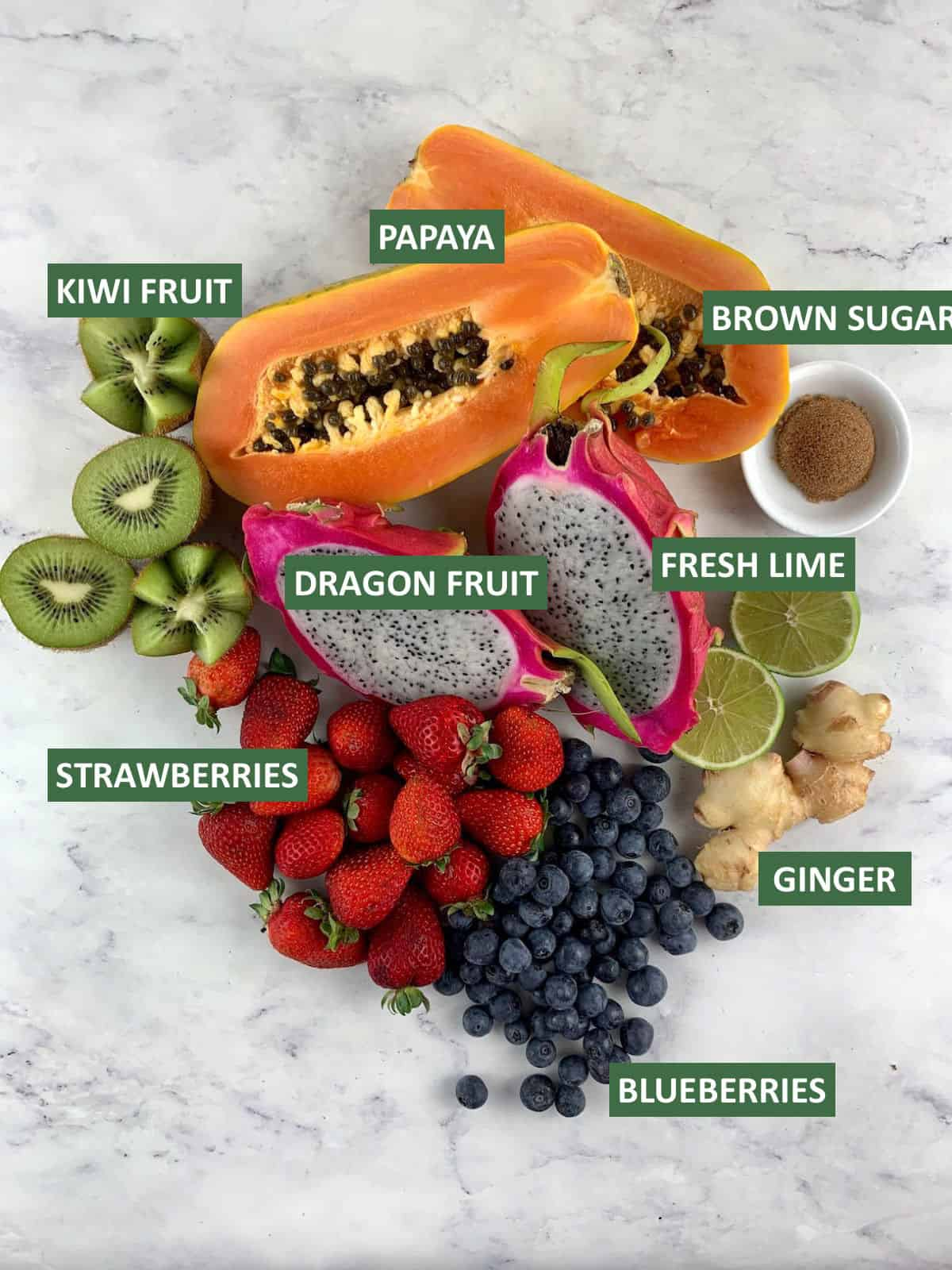 LABELLED INGREDIENTS NEEDED FOR DRAGON FRUIT SALAD