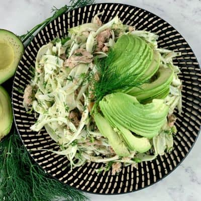 SMOKED TROUT & FENNEL SALAD ON A PATTERNED PLATTER WITH DILL & AVOCADO ON THE SIDE