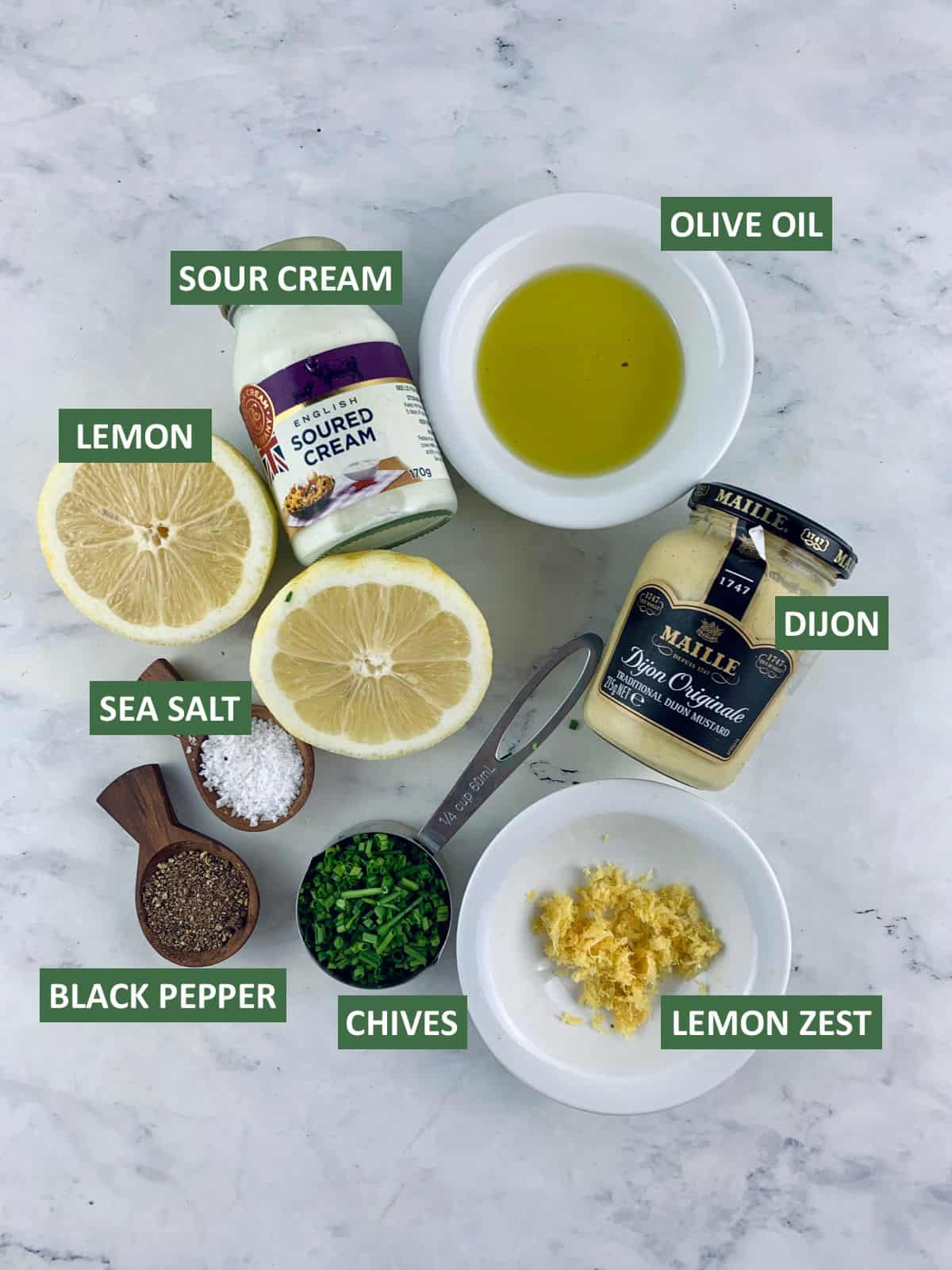 LABELLED INGREDIENTS FOR SOUR CREAM CHIVE DRESSING
