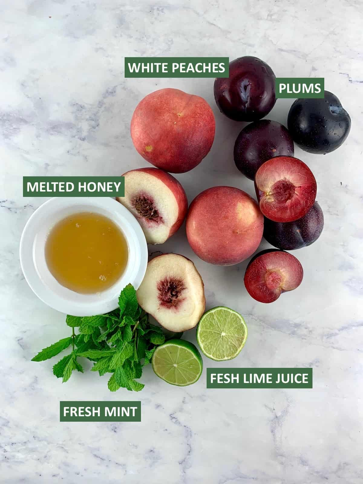 LABELLED INGREDIENTS FOR WHITE PEACH SALAD