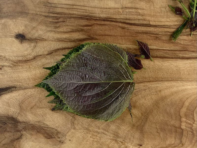 STACKED SHISO LEAVES ON WOODEN BOARD