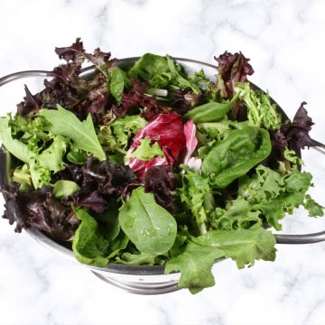 SALAD LEAVES IN A STAINLESS STEEL COLANDER