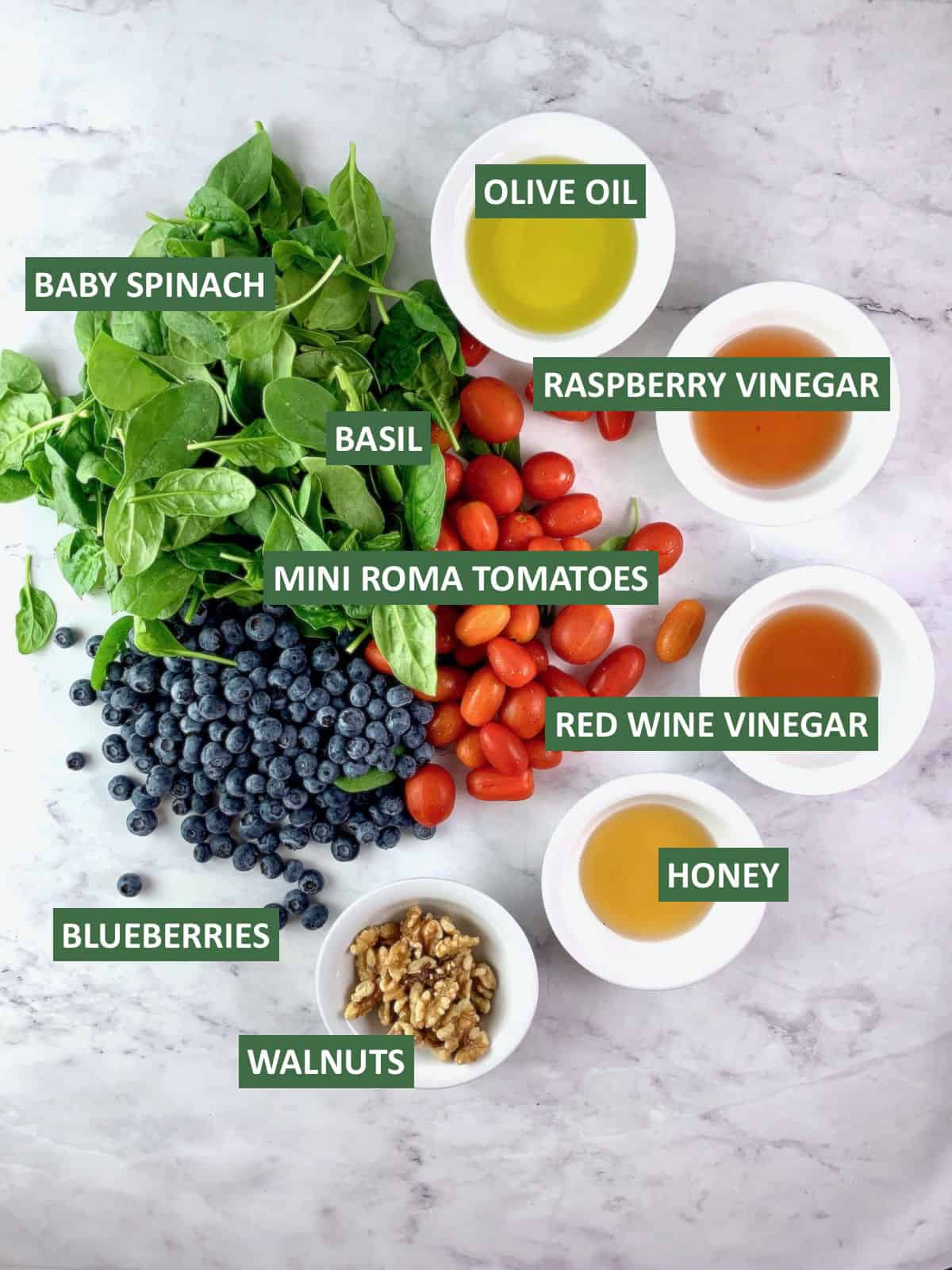 LABELLED INGREDIENTS NEEDED TO MAKE BASIL & TOMATO SALAD