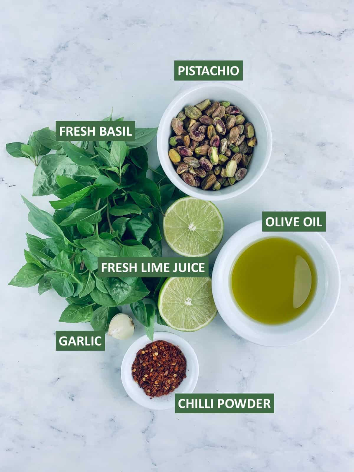LABELLED INGREDIENTS NEEDED TO MAKE PISTACHIO DRESSING