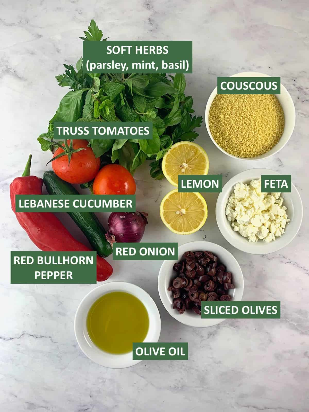 LABELLED INGREDIENTS FOR MEDITRRANEAN COUSCOUS SALAD