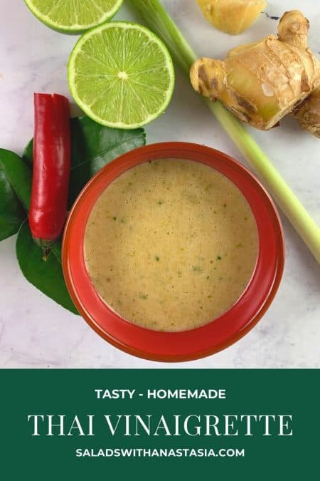 THAI VINAIGRETTE IN A RED BOWL WITH INGREDIENTS SCATTERED AROUND & TEXT OVERLAY
