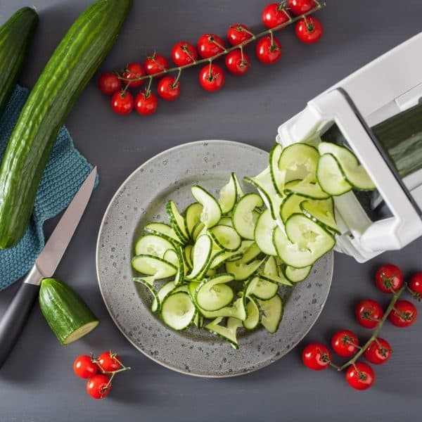 cucumbers being spiralized