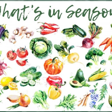 VARIETY OF WATERCOLOR VEGETABLES & TEXT OVERLAY